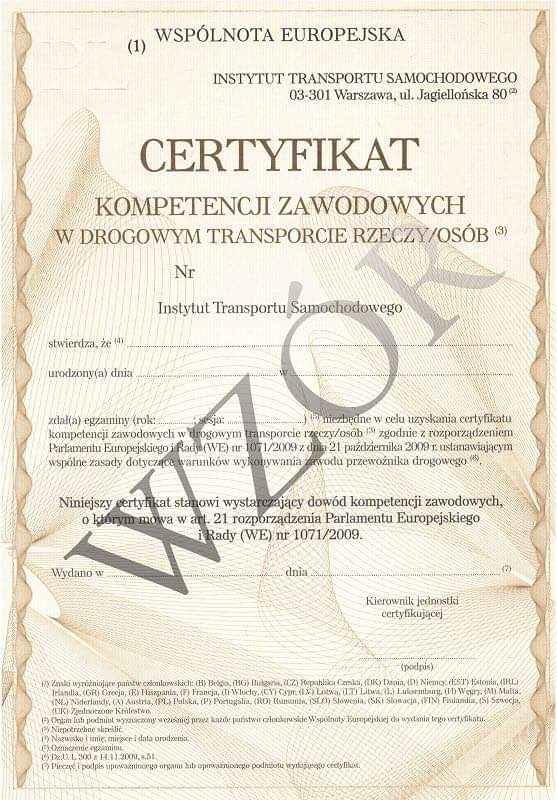 Użyczę Certyfikatu CKZ w Transporcie Drogowym Rzeczy lub Osób PPR Szczecin - zdjęcie 1