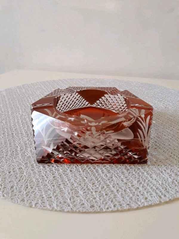 Popielniczka labedz JULIA bursztynowy krysztal Mokotów - zdjęcie 4
