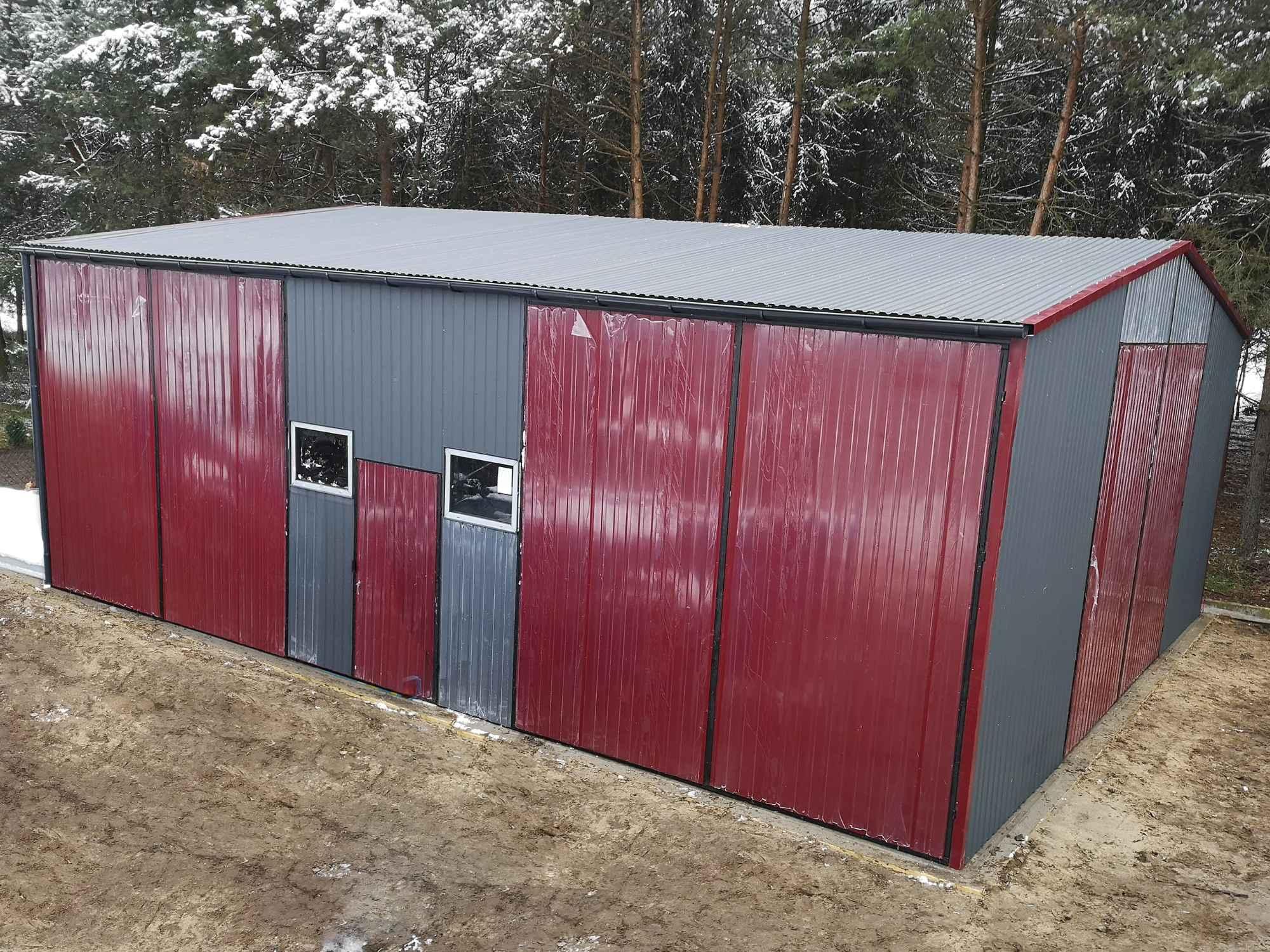 Garaż, Hala blaszana dwuspadowa 12x8 m trzy bramy, okna, drzwi, okucia Bochnia - zdjęcie 1