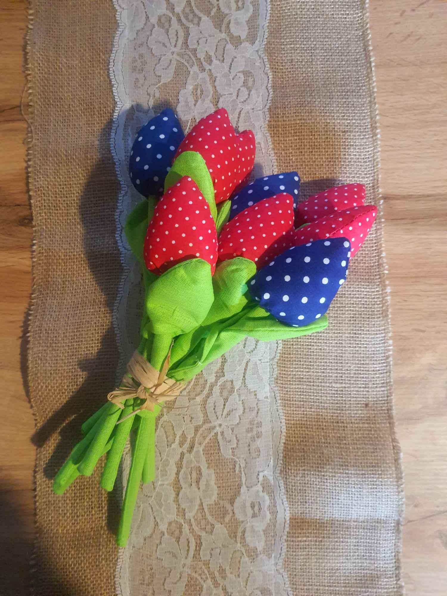 Tulipany szyte z bawełny Dzień Matki, zakończenie roku szkolnego Piekary Śląskie - zdjęcie 2