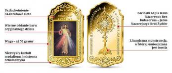 Cudowny obraz Jezusa Miłosiernego platerowanej 24-karatowym złotem Wierzbica Górna - zdjęcie 1