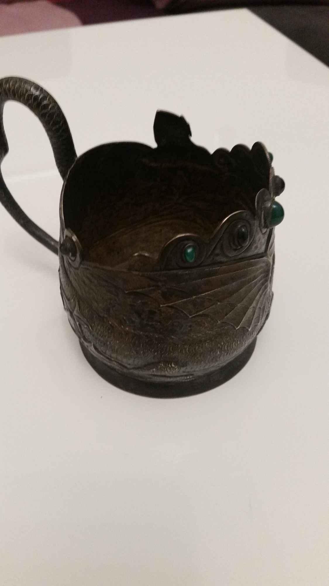 srebrna czara z  wizerunkiem  smoka z  19  wieku Orzesze - zdjęcie 3