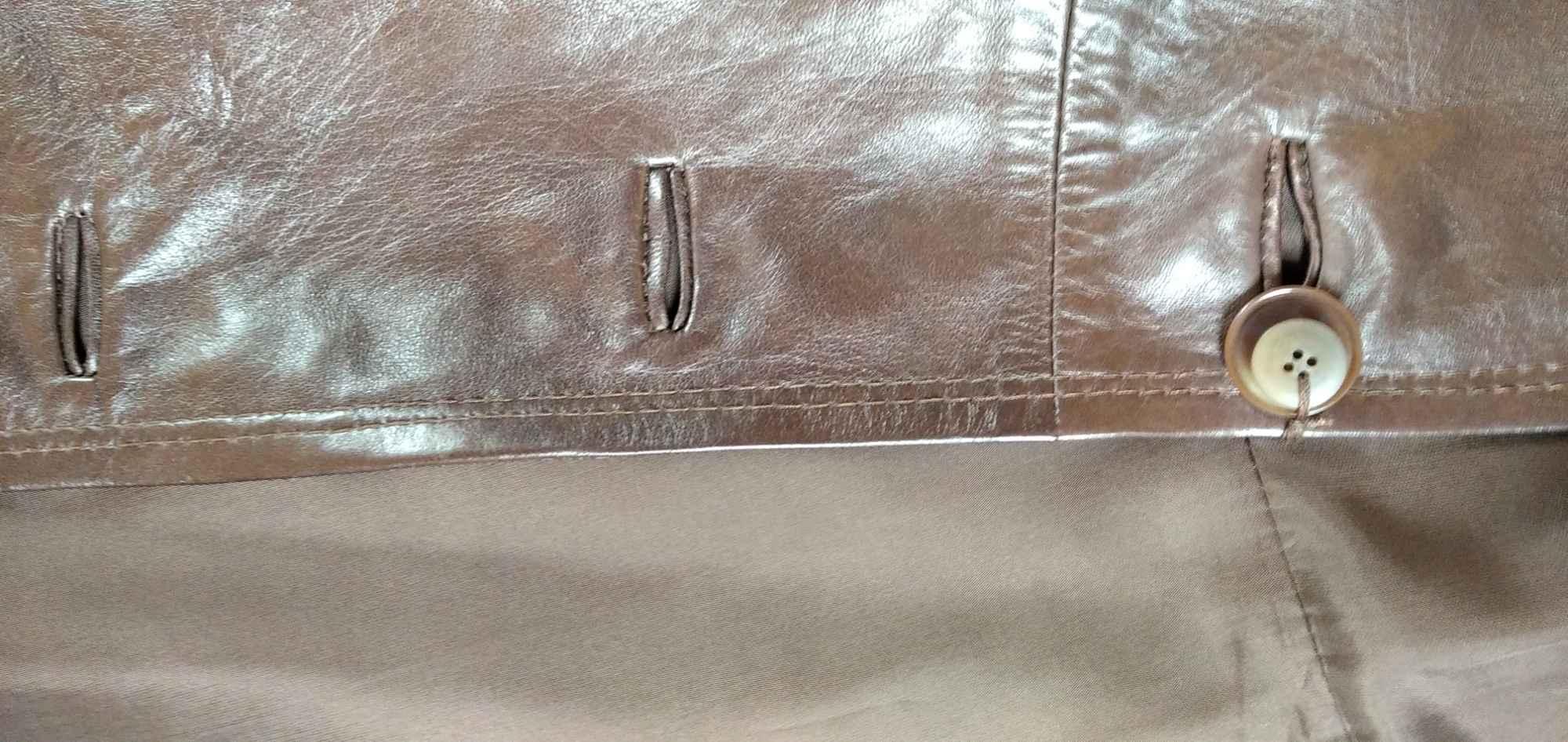 Sprzedam nowy ,skórzany, brązowy płaszcz damski Gdynia - zdjęcie 5