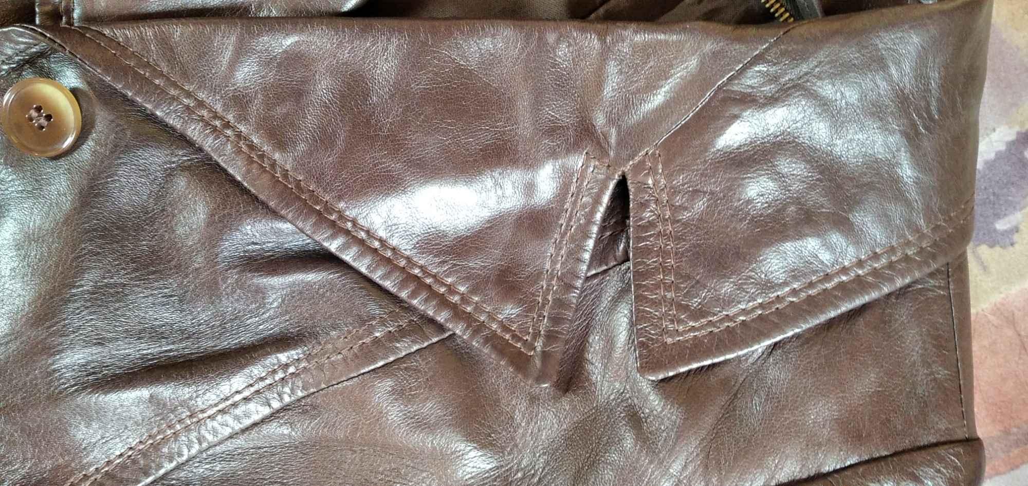 Sprzedam nowy ,skórzany, brązowy płaszcz damski Gdynia - zdjęcie 7