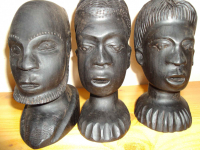 Sztuka afrykańska - 3 głowy z hebanu Śródmieście - zdjęcie 1