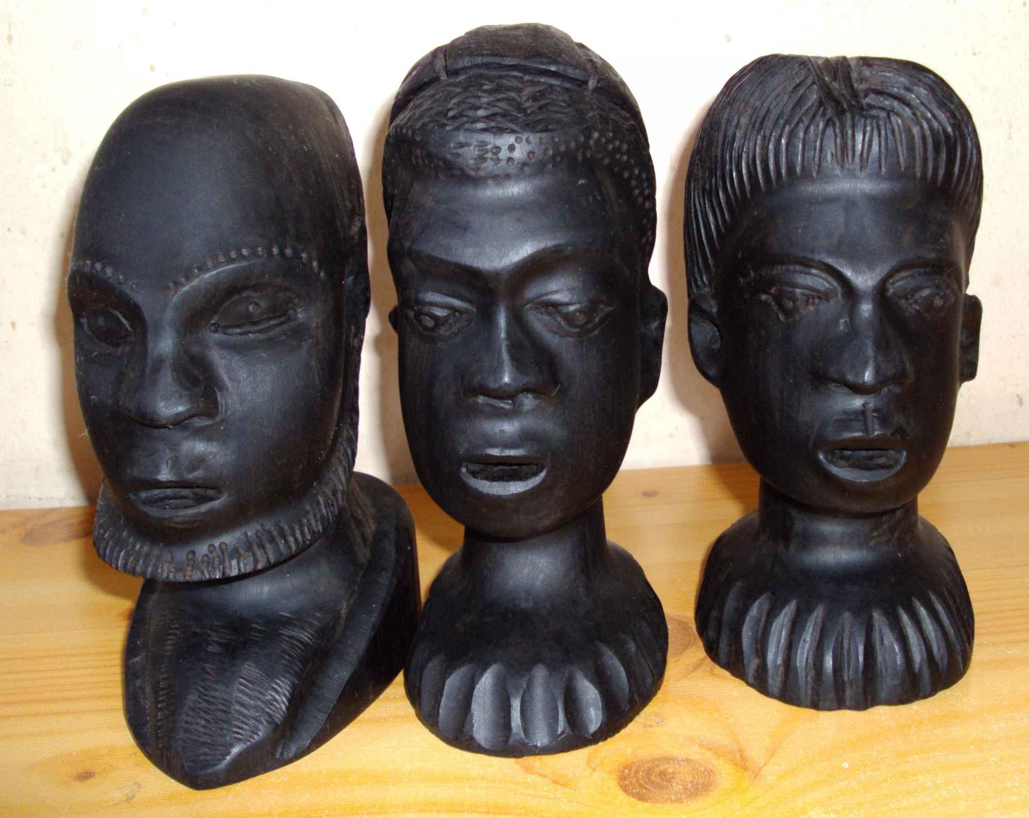 Sztuka afrykańska - 3 głowy z hebanu Śródmieście - zdjęcie 2