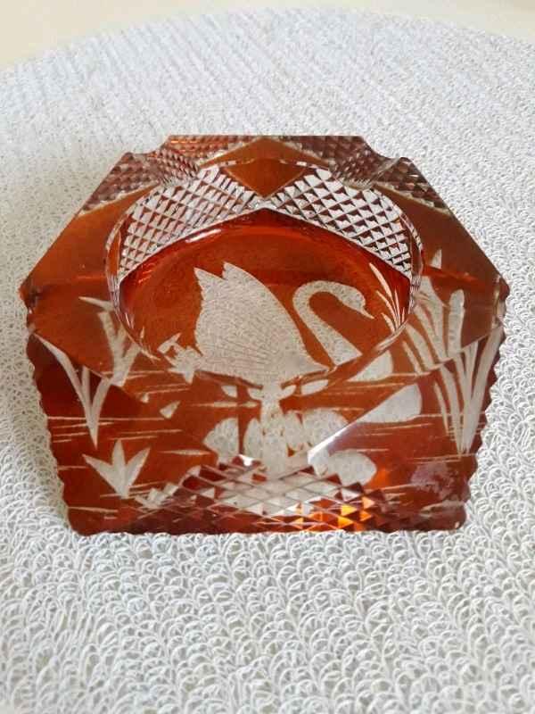 Popielniczka labedz JULIA bursztynowy krysztal Mokotów - zdjęcie 2