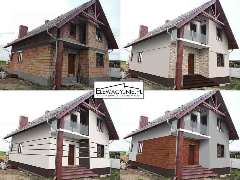 Projekt elewacji, wizualizacje 2D/3D, projekt elewacja domu Kielce - zdjęcie 1