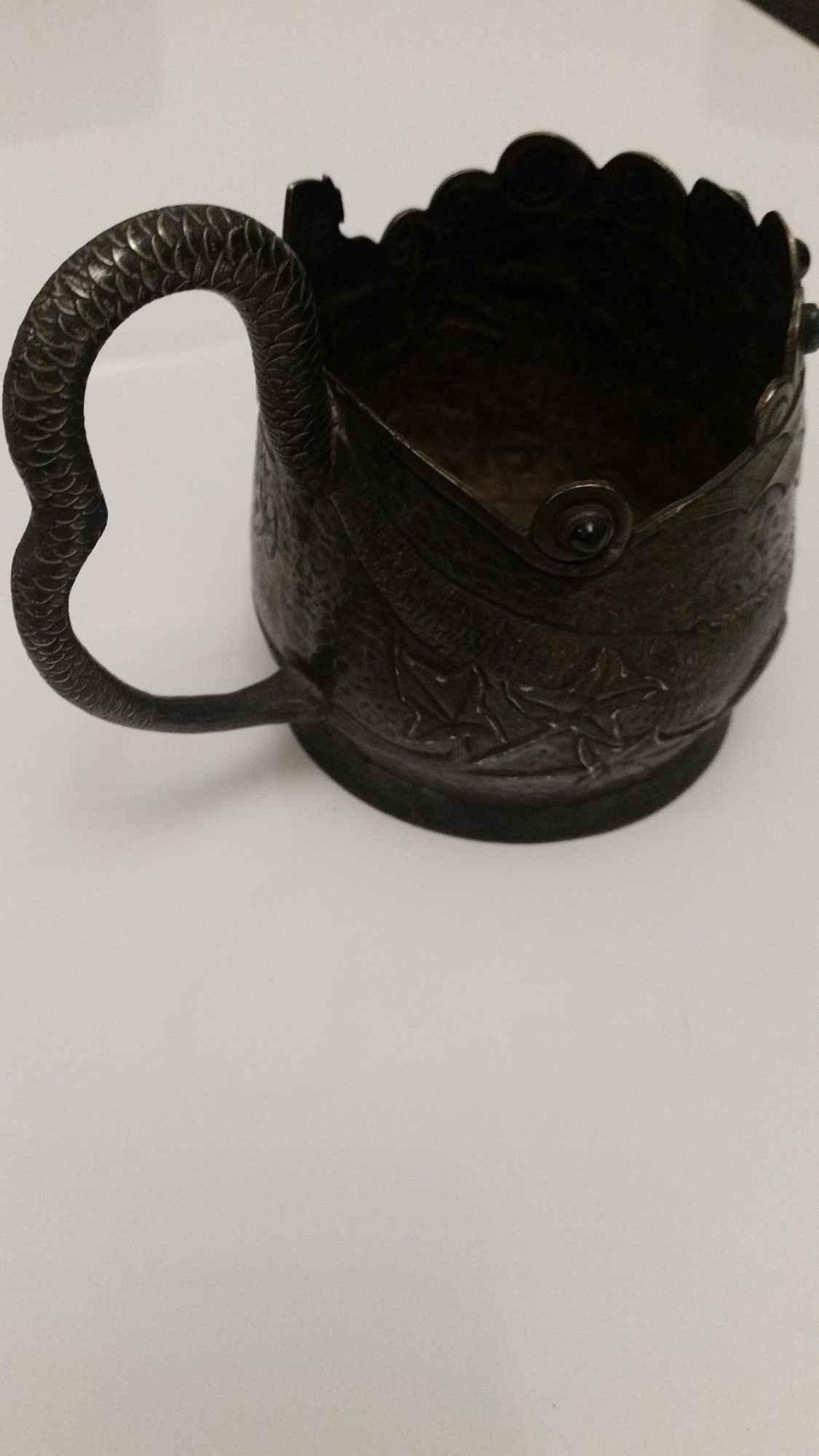 srebrna czara z  wizerunkiem  smoka z  19  wieku Orzesze - zdjęcie 4