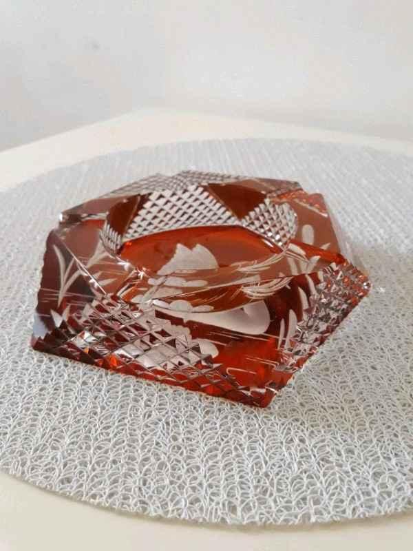 Popielniczka labedz JULIA bursztynowy krysztal Mokotów - zdjęcie 3
