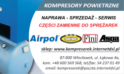 KOMPRESORY POWIETRZNE WAN, AIRPOL, FINI - CZĘŚCI ZAMIENNE DO SPRĘŻAREK Włocławek - zdjęcie 1