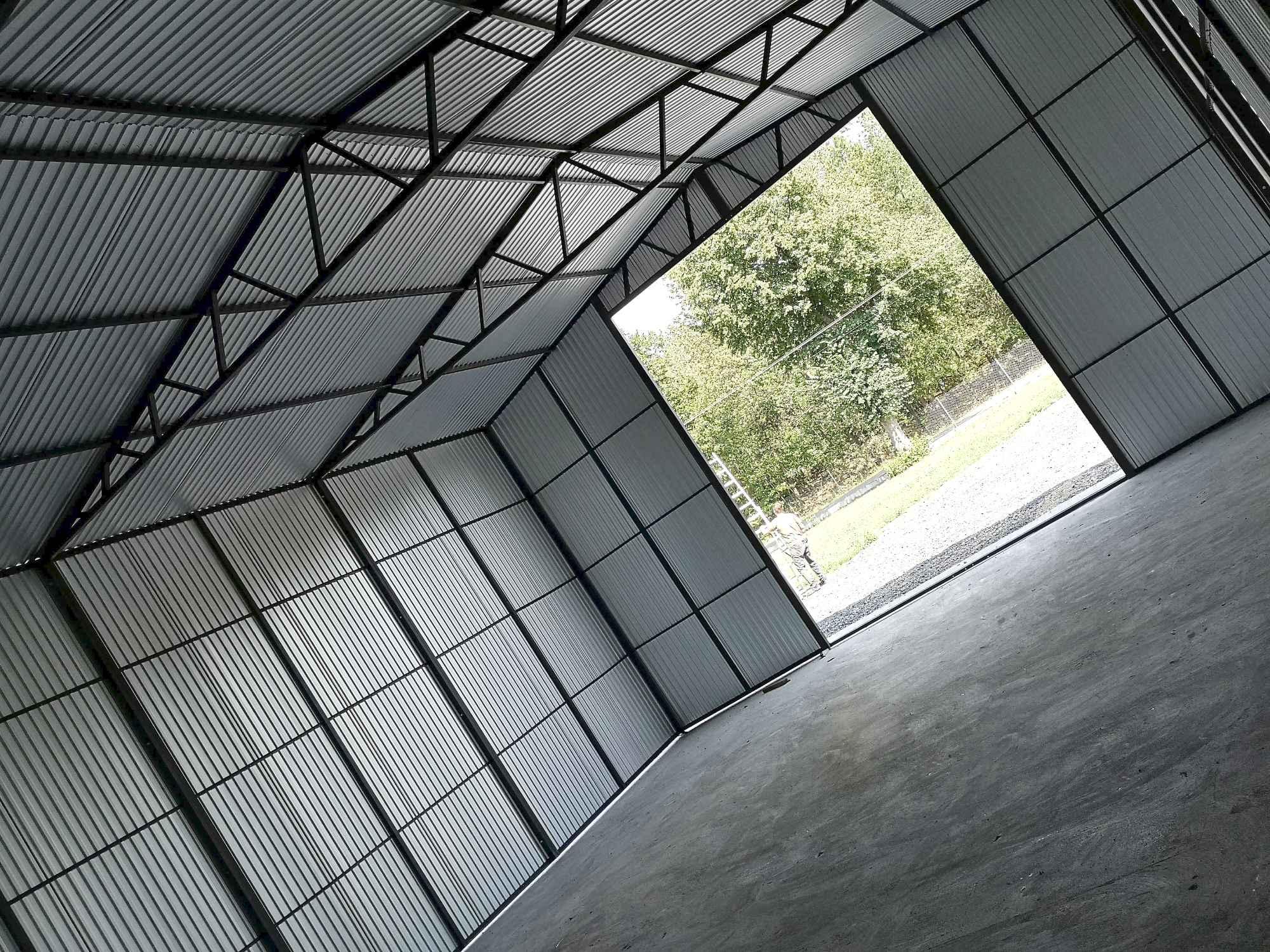 Garaż, Hala blaszana dwuspadowa 12x8 m trzy bramy, okna, drzwi, okucia Bochnia - zdjęcie 2