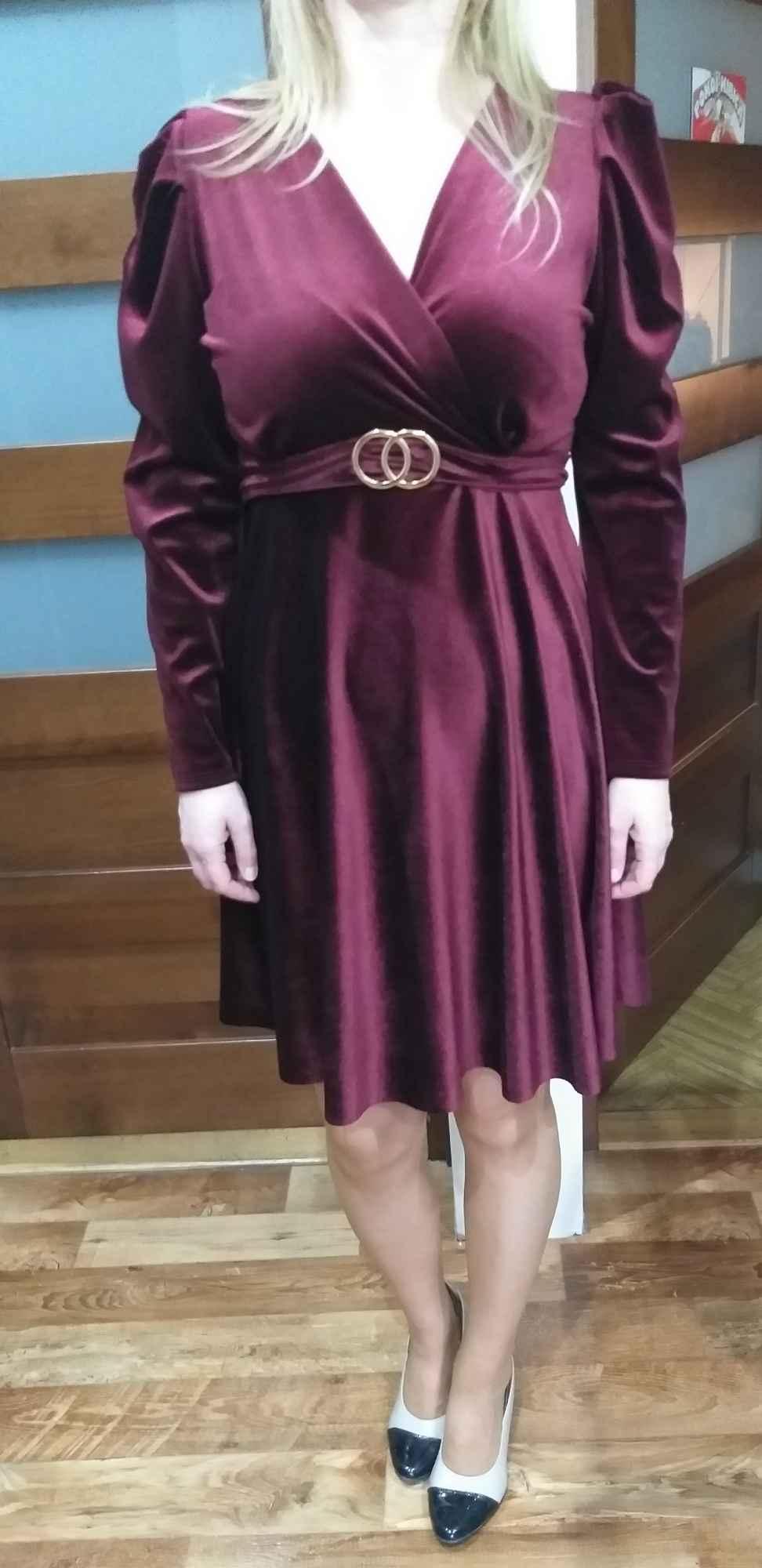 Sukienka welurowa Węgrów - zdjęcie 2
