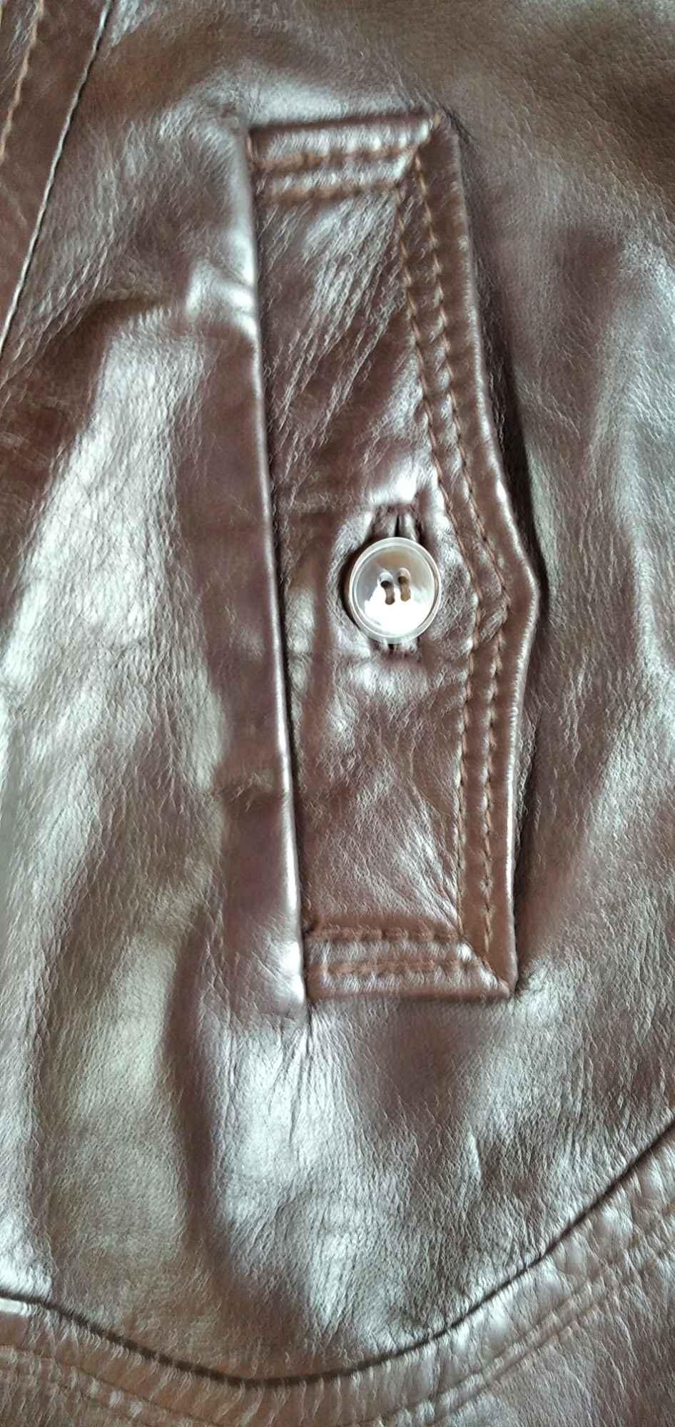 Sprzedam nowy ,skórzany, brązowy płaszcz damski Gdynia - zdjęcie 6