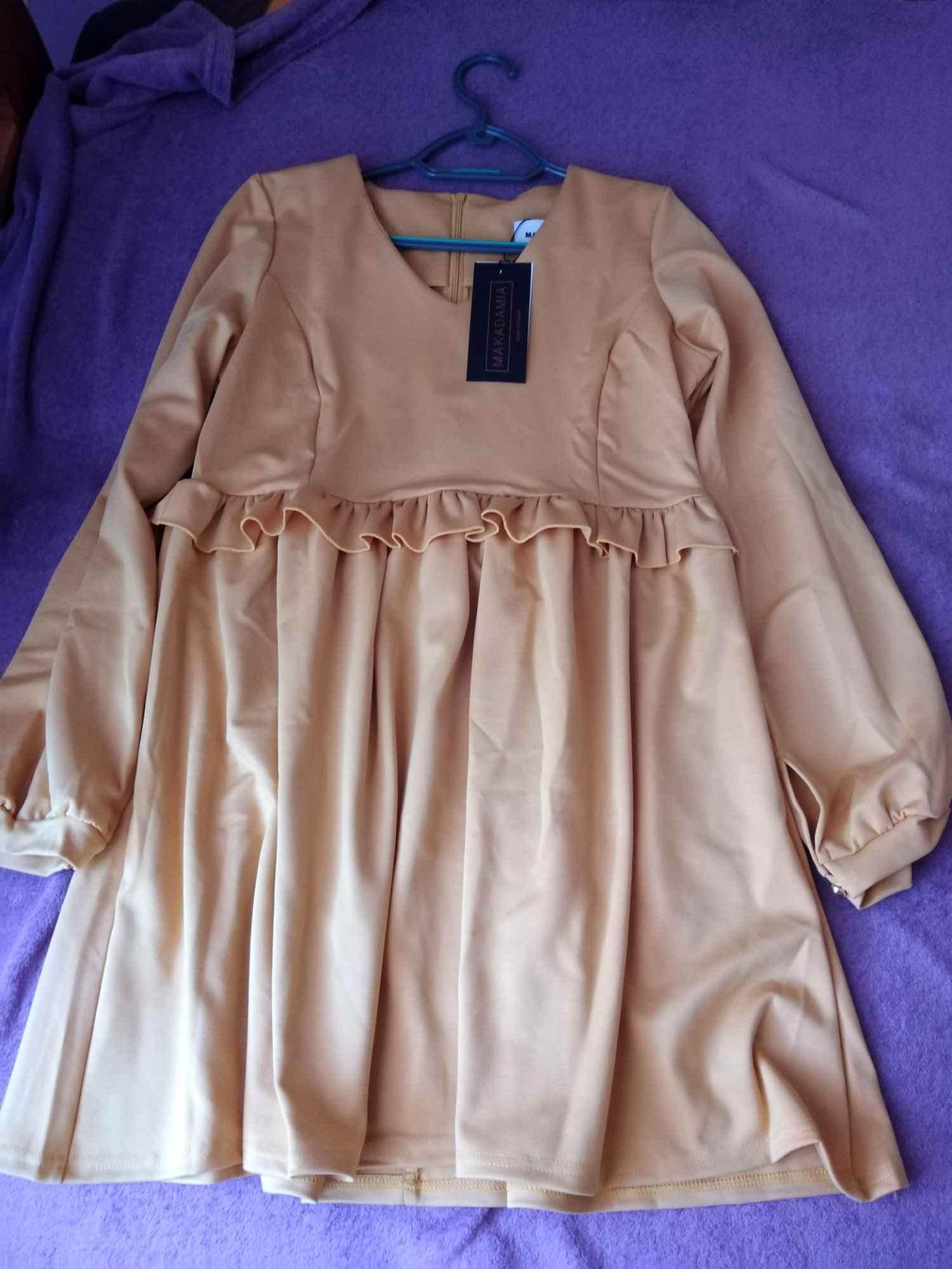 Sukienka Musztardowa w serek Syców - zdjęcie 1