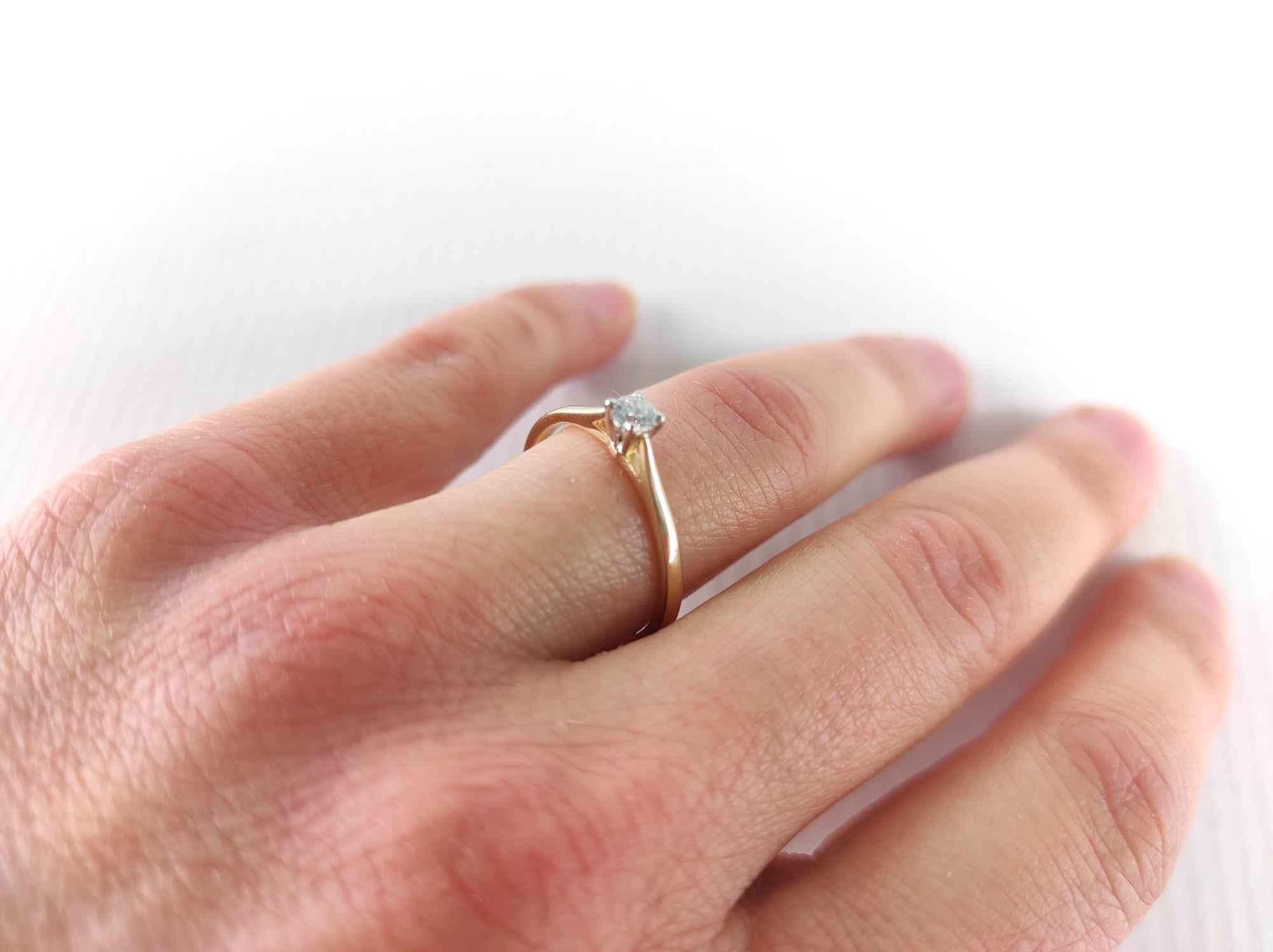 Pierścionek zaręczynowy złoty z diamentem YES z kolekcji Eternel r15,5 Mińsk Mazowiecki - zdjęcie 1
