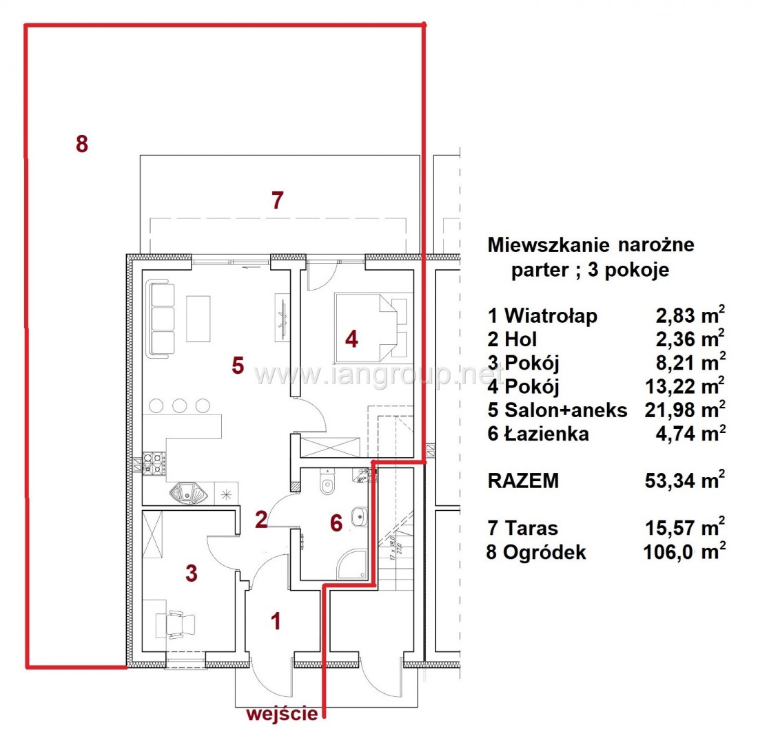 Nowe mieszkania z ogródkiem - Rzeszów - Zaczernie - 53,34m2 - 1538/M Rzeszów - zdjęcie 2
